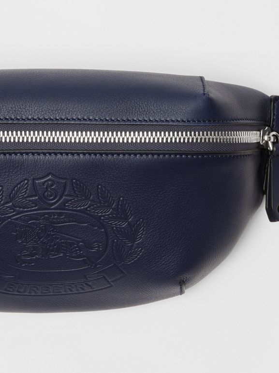 Medium Embossed Crest Leather Bum Bag in Regency Blue | Burberry Australia - cell image 1