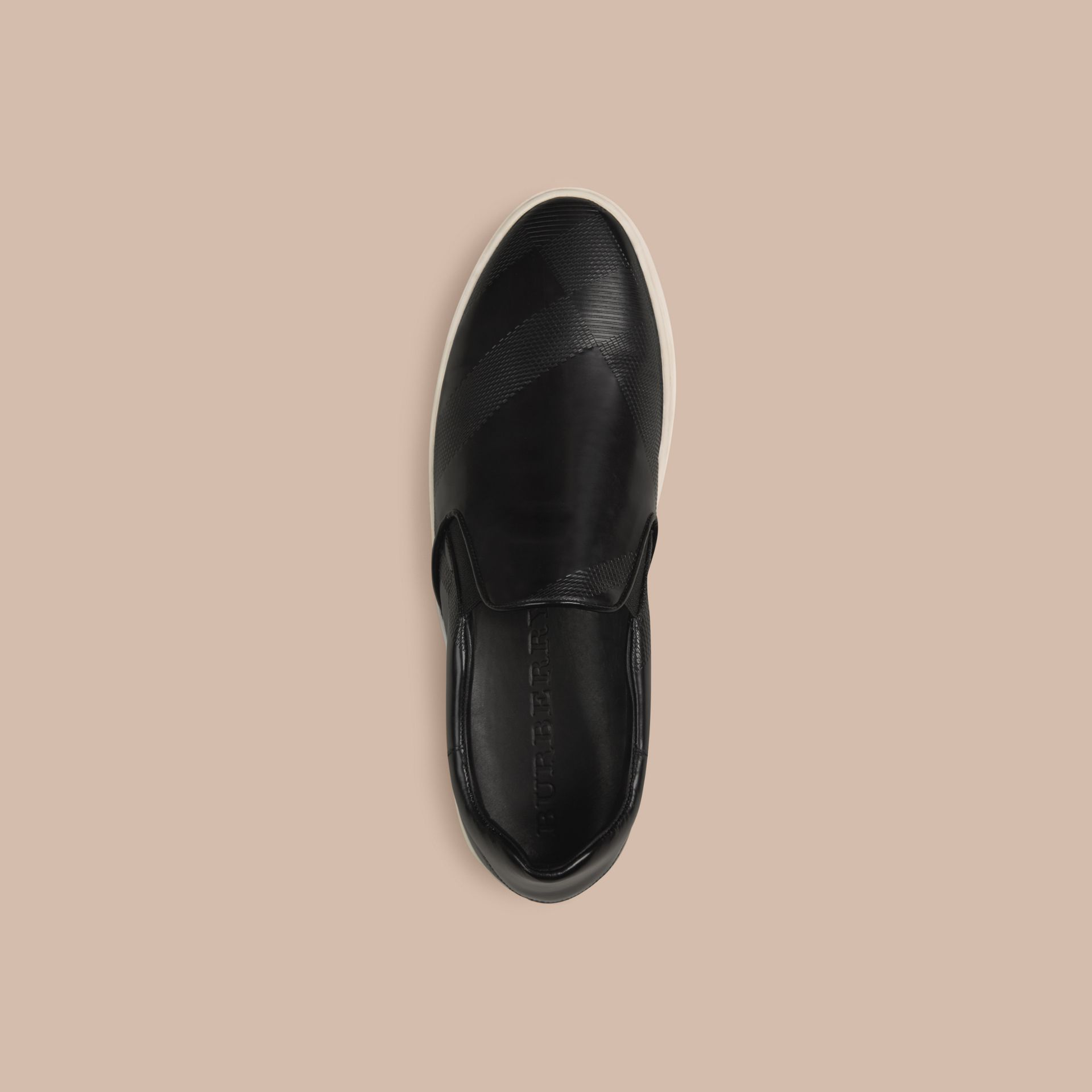 Black Check-embossed Leather Slip-on Trainers - gallery image 2