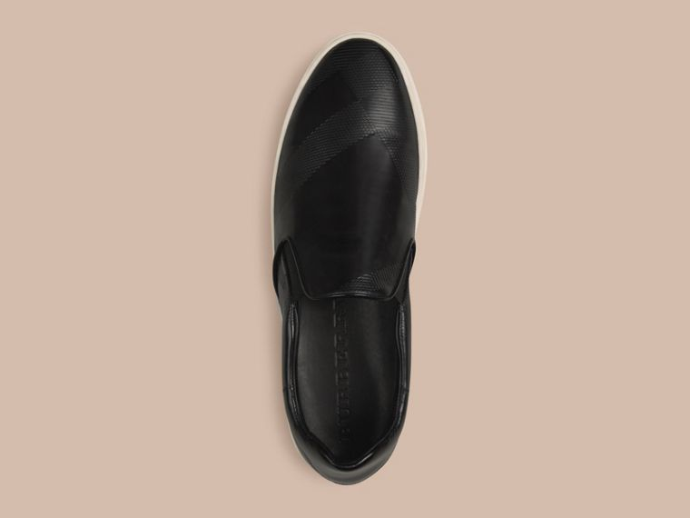 Black Check-embossed Leather Slip-on Trainers - cell image 1