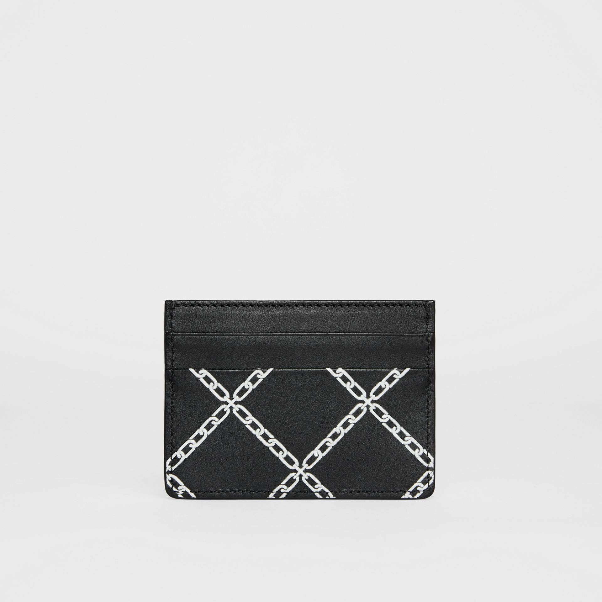Link Print Leather Card Case in Black/chain | Burberry - gallery image 5