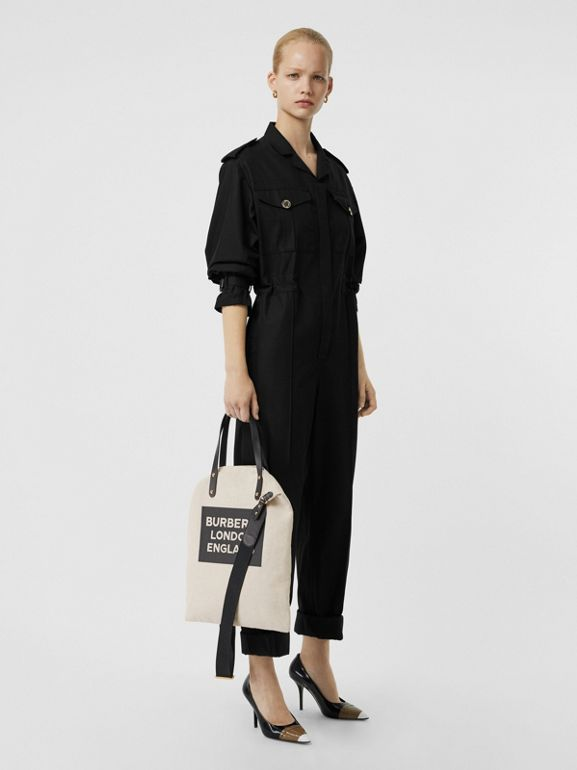 Logo Cotton Canvas Tote in Natural | Burberry Singapore - cell image 1