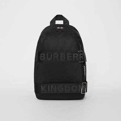 Large Logo Detail Nylon Backpack by Burberry