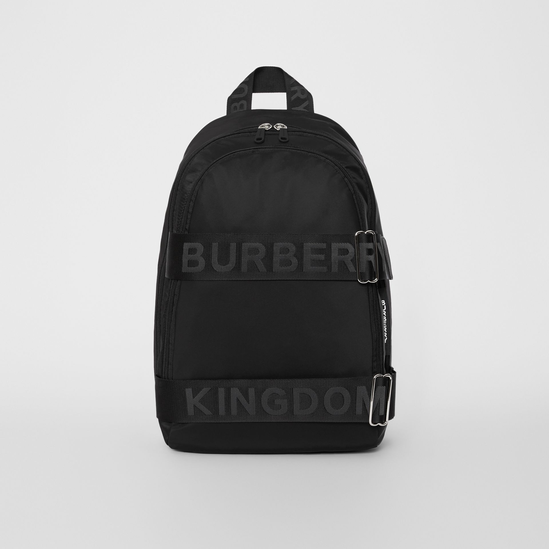 Large Logo Detail Nylon Backpack in Black - Men | Burberry United States - gallery image 0
