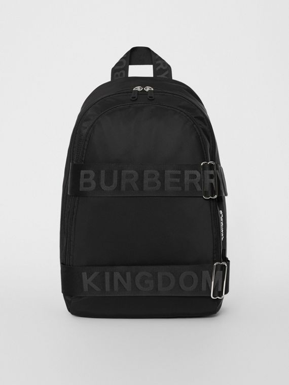 Large Logo Detail Nylon Backpack in Black
