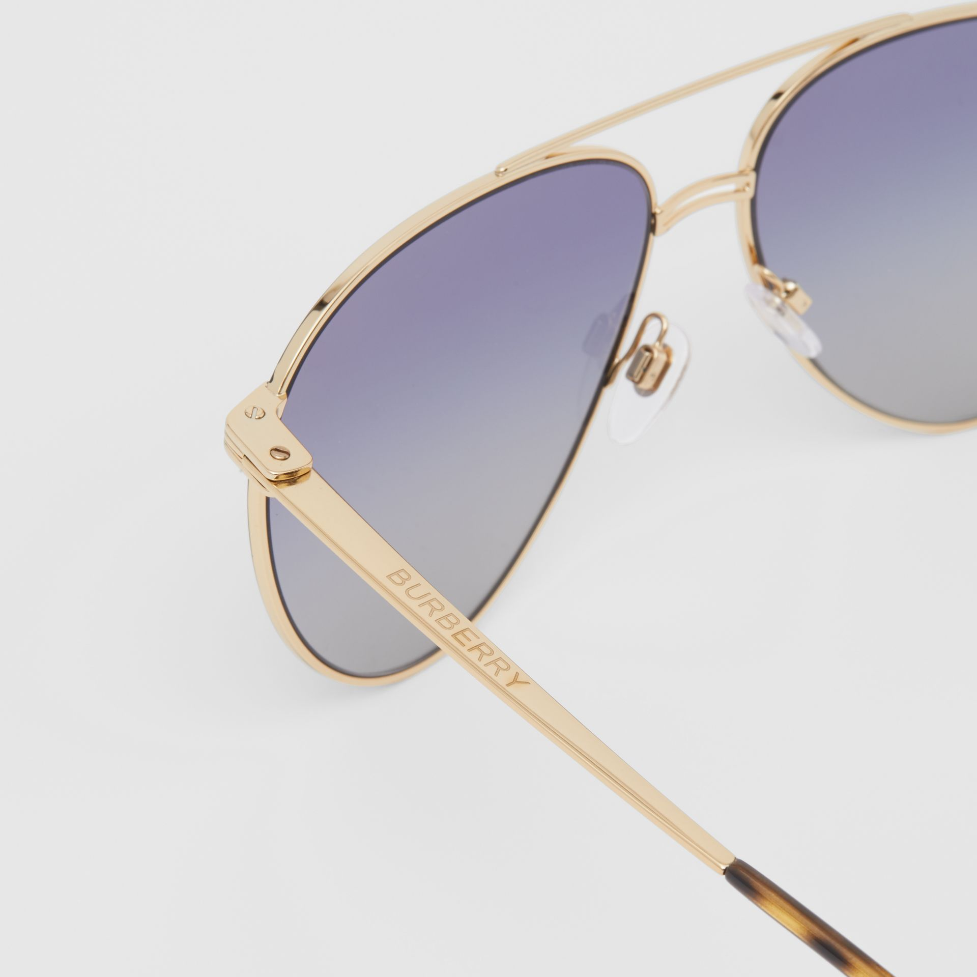 Top Bar Detail Pilot Sunglasses in Gold / Blue | Burberry - gallery image 1