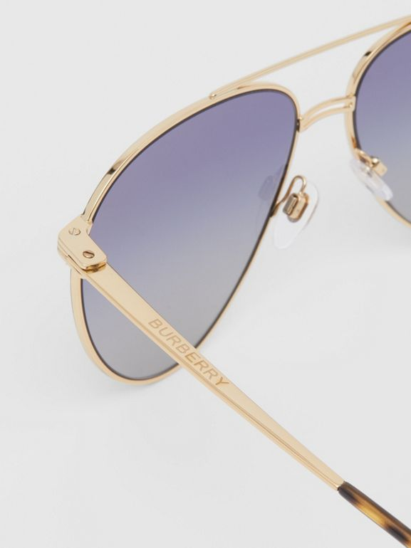 Top Bar Detail Pilot Sunglasses in Gold / Blue - Men | Burberry - cell image 1