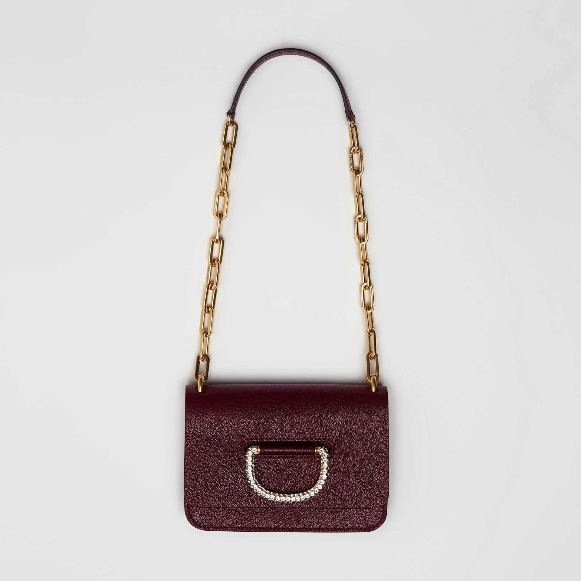 The Mini Leather Crystal D-ring Bag in Deep Claret - Women | Burberry Singapore - gallery image 2