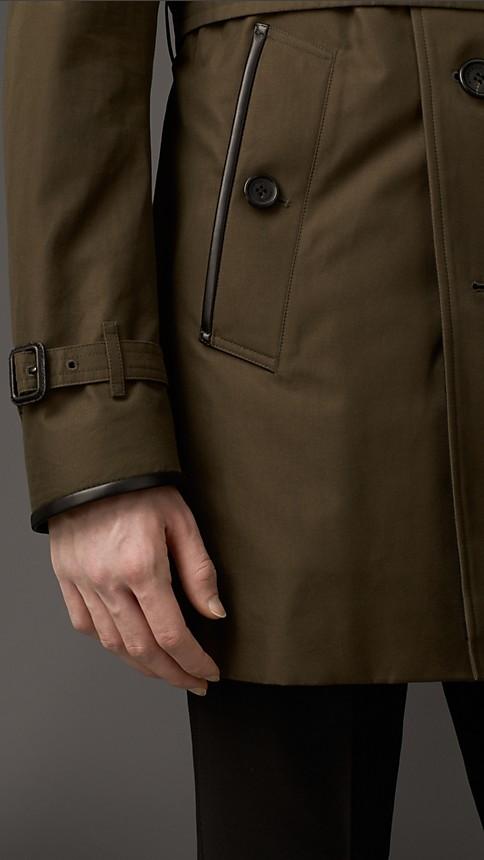 Dark khaki green Wool Cashmere Detail Gabardine Trench Coat - Image 3