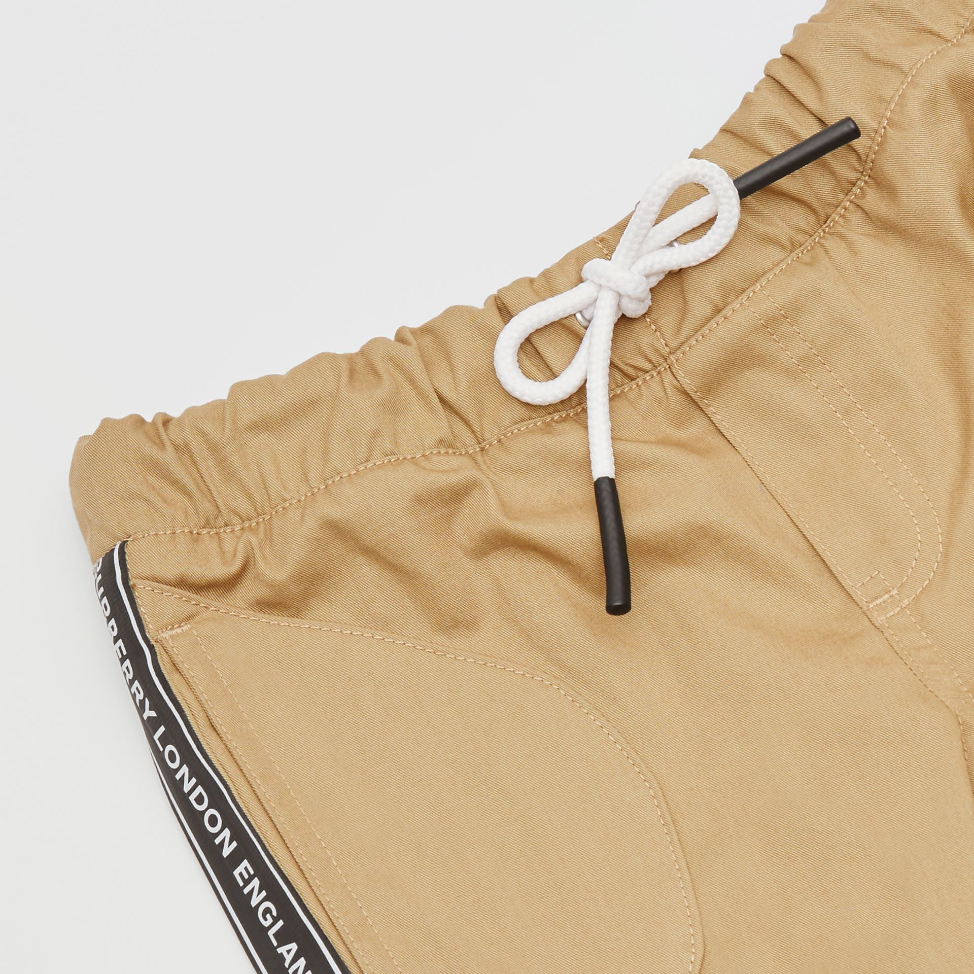 Logo Tape Cotton Chinos in Honey - Children | Burberry United Kingdom - gallery image 1