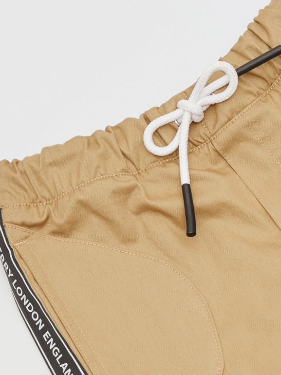 Logo Tape Cotton Chinos in Honey - Children | Burberry United Kingdom - cell image 1