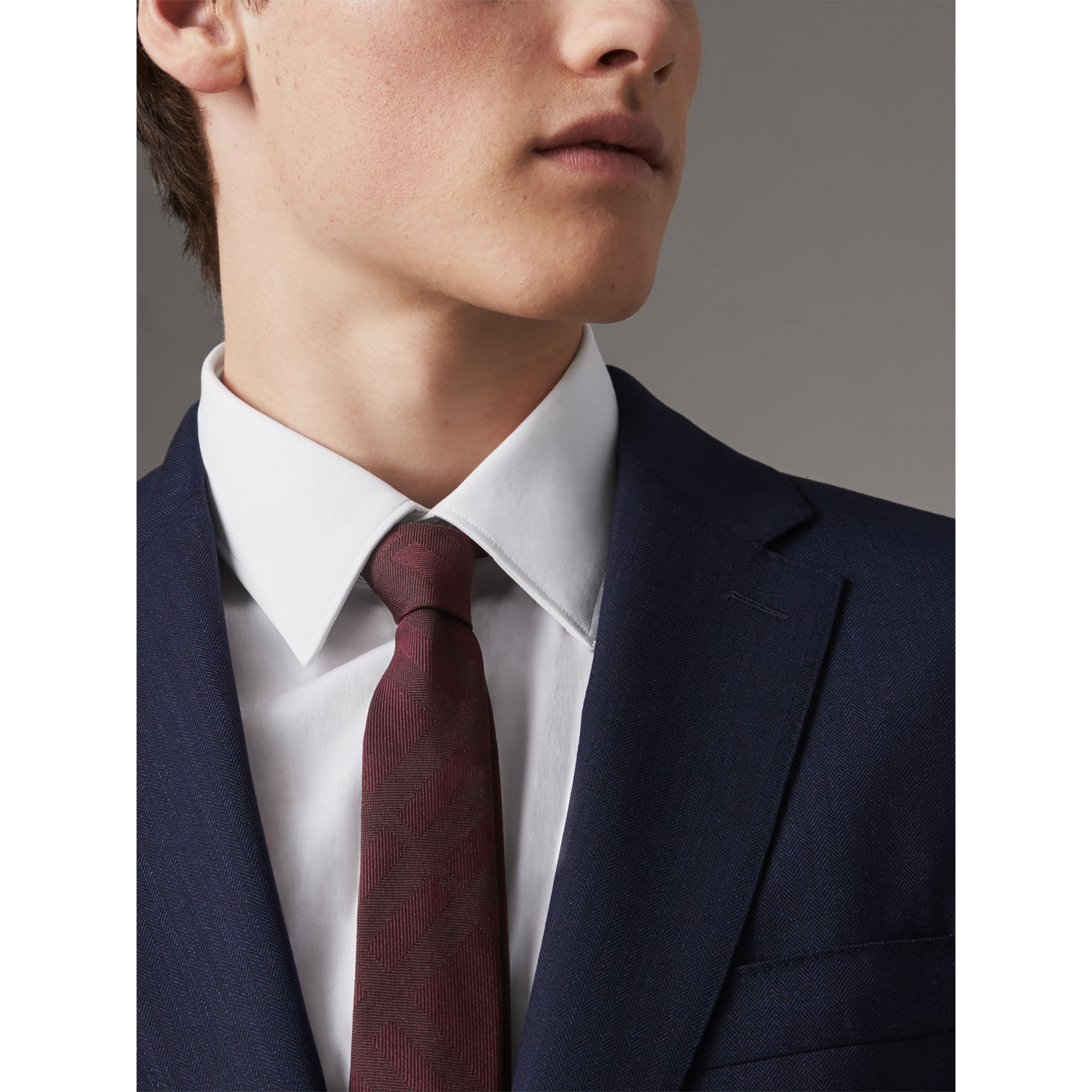 Slim Cut Check Silk Tie in Deep Claret - Men | Burberry - gallery image 3
