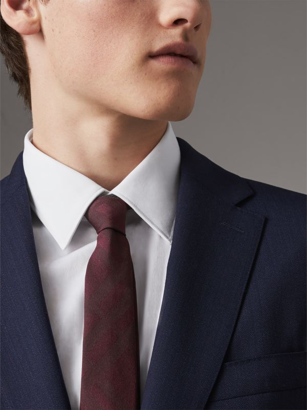 Slim Cut Check Silk Tie in Deep Claret - Men | Burberry - cell image 2