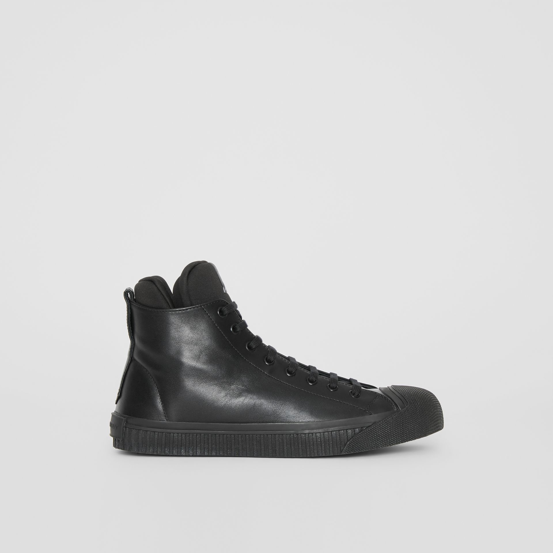 Leather and Neoprene High-top Sneakers in Black - Men | Burberry - gallery image 4