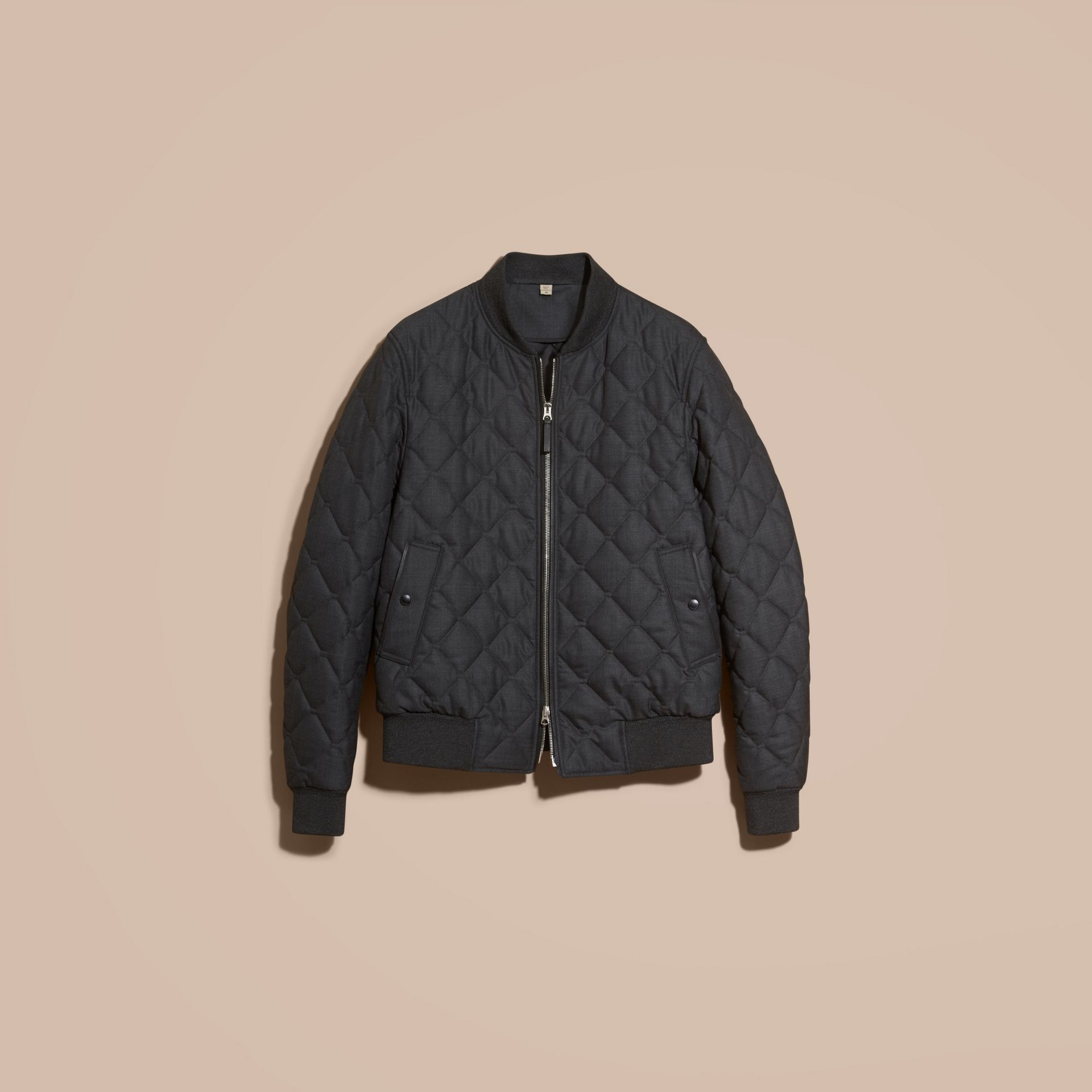 Charcoal Lambskin Trim Quilted Wool Bomber Jacket - gallery image 4
