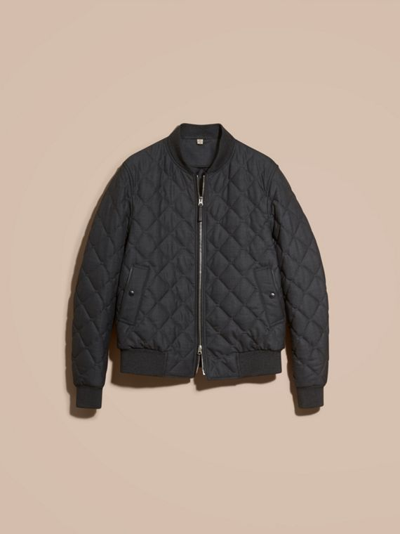 Charcoal Lambskin Trim Quilted Wool Bomber Jacket - cell image 3