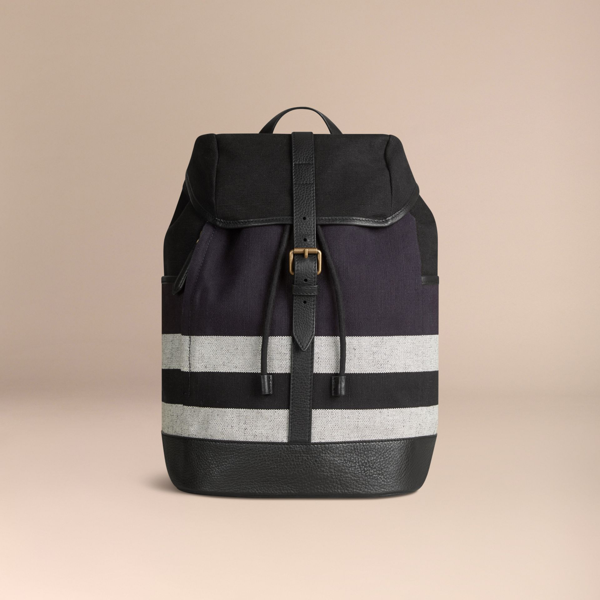 Navy Canvas Check Backpack Navy - gallery image 7