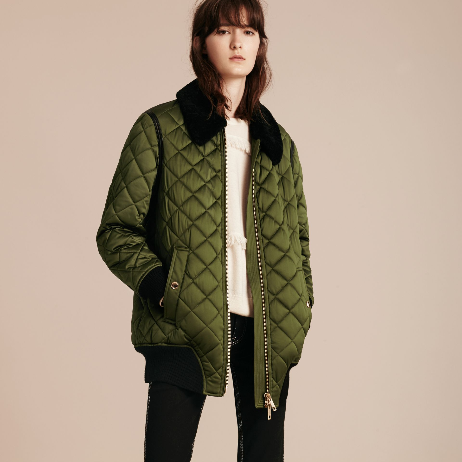 Bright moss green Long Quilted Bomber Jacket with Shearling Collar - gallery image 7
