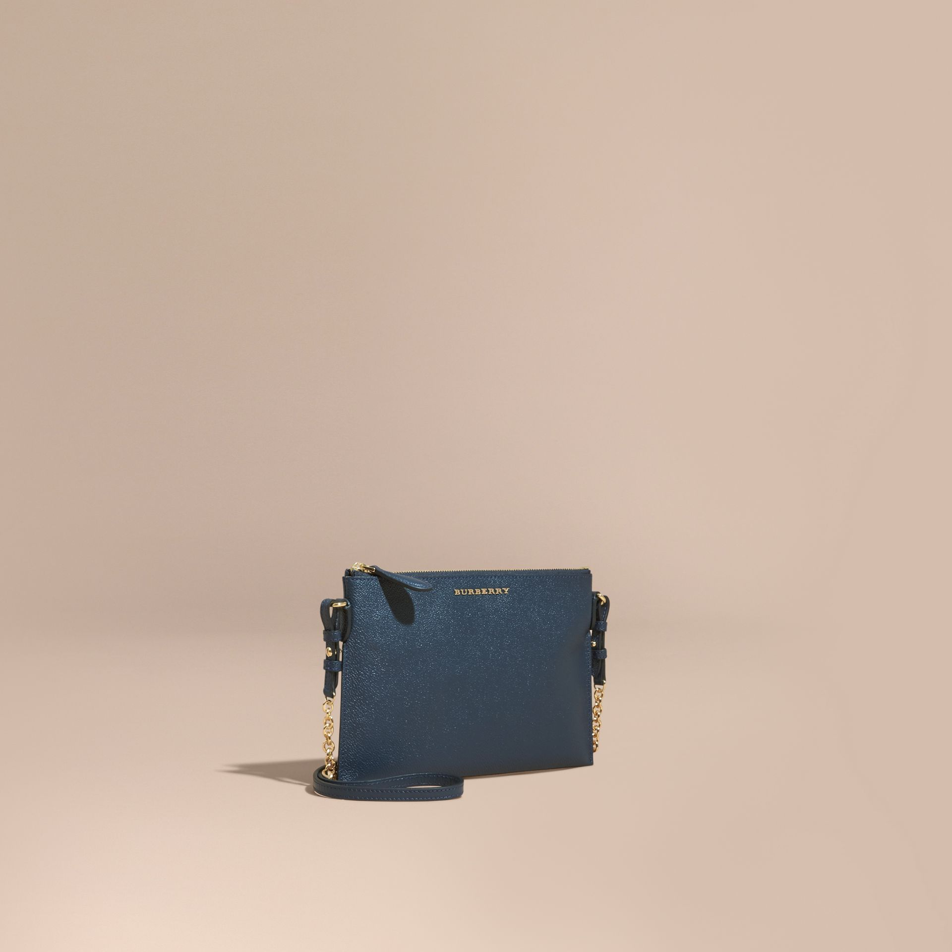 Leather Clutch Bag with Check Lining Blue Carbon - gallery image 1