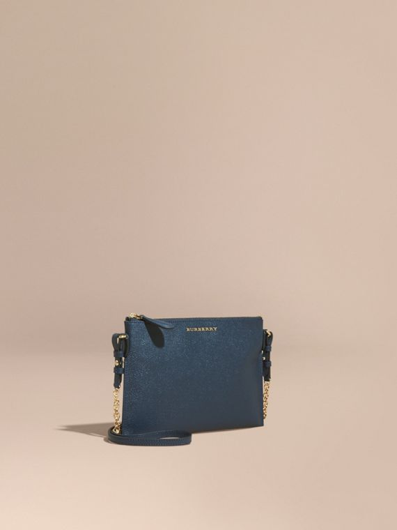 Leather Clutch Bag with Check Lining Blue Carbon