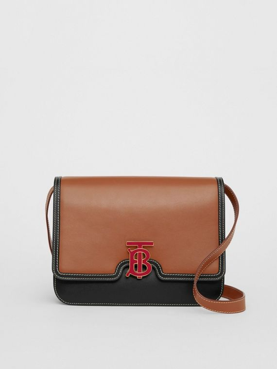 Medium Two-tone Leather TB Bag in Malt Brown/black