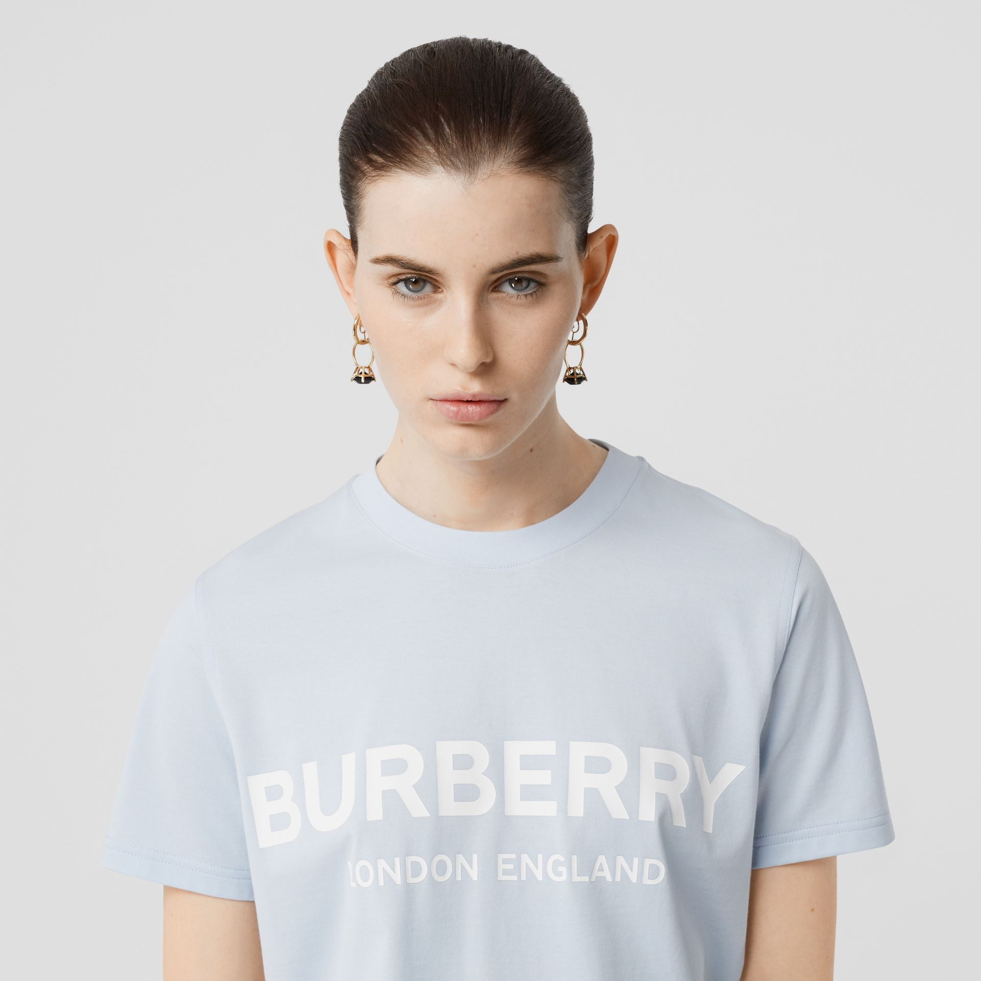 Logo Print Cotton T-shirt in Pale Blue - Women | Burberry - gallery image 1