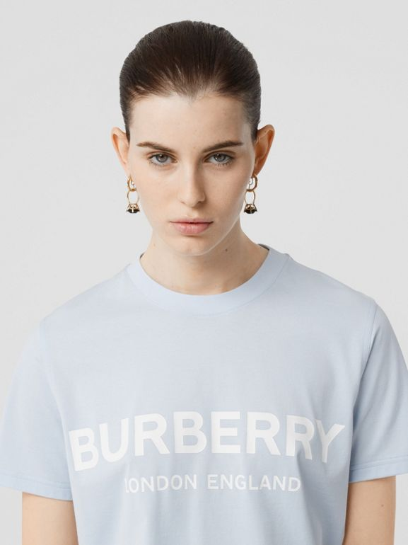 Logo Print Cotton T-shirt in Pale Blue - Women | Burberry - cell image 1