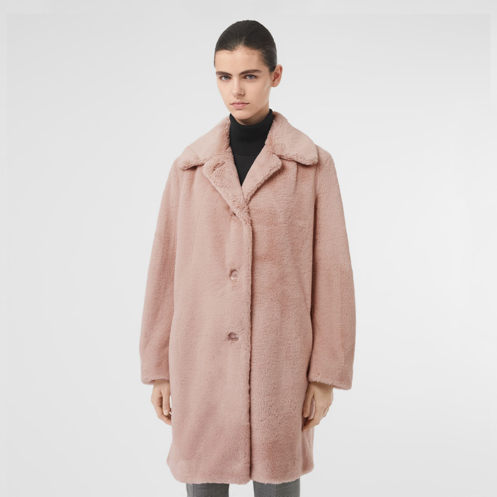 Faux Fur Single-breasted Coat in Pale Blush - Women | Burberry - gallery image 5