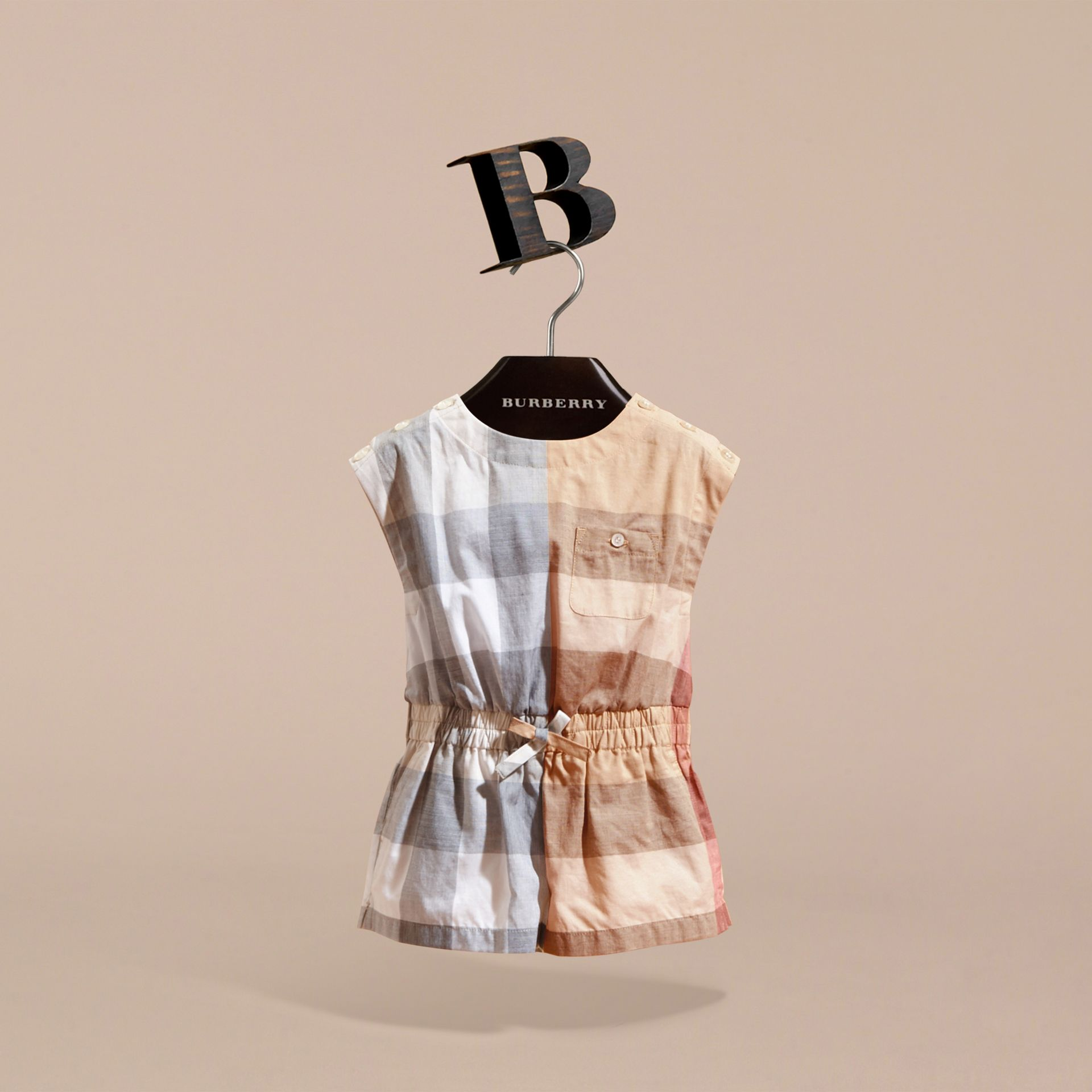Check Cotton Playsuit in Pale Stone | Burberry - gallery image 3