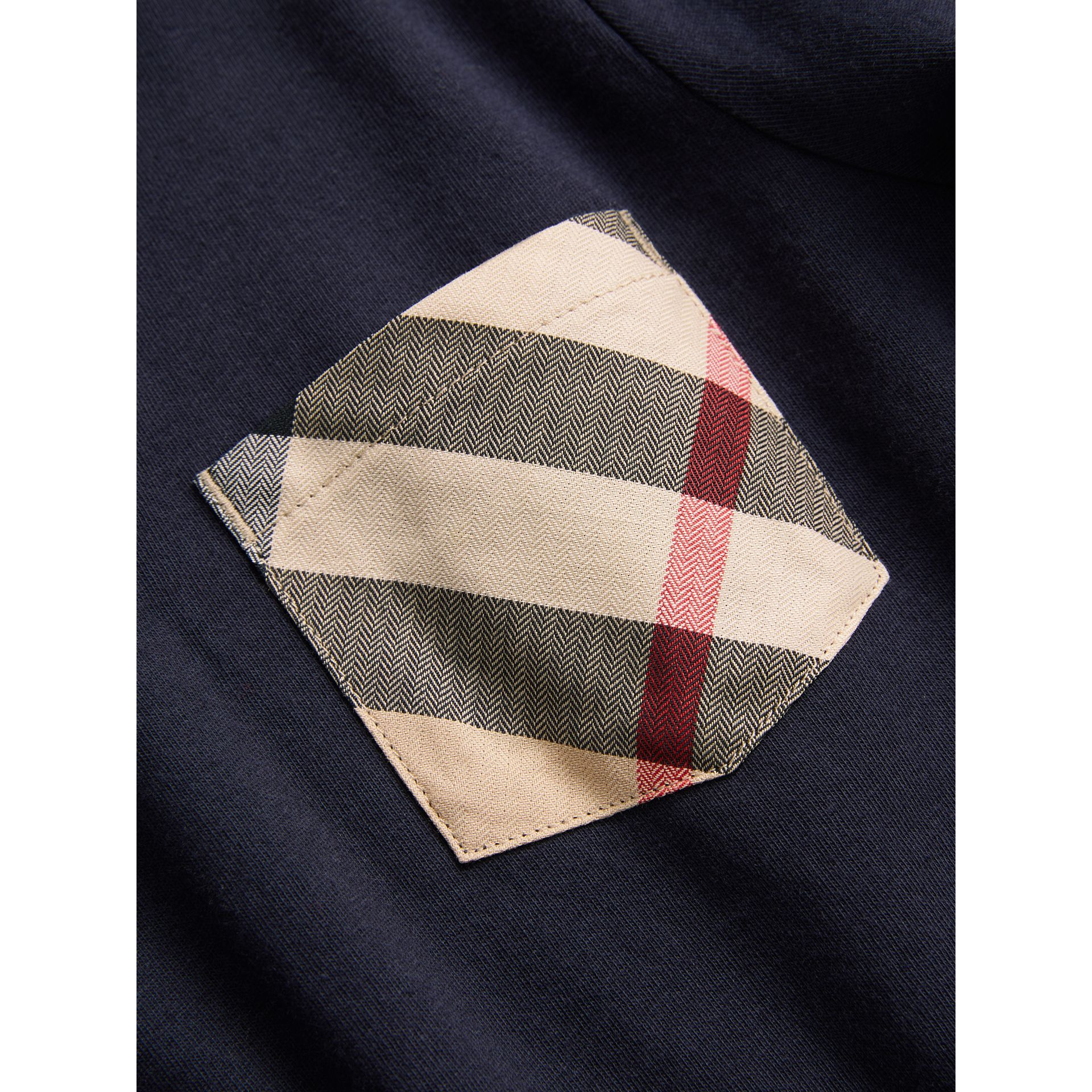 Long-sleeve Check Pocket Cotton T-shirt in True Navy - Boy | Burberry - gallery image 1