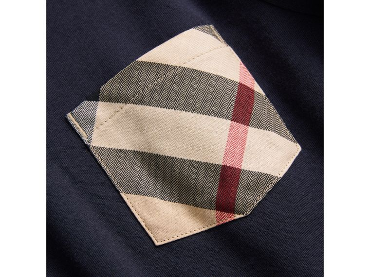Long-sleeve Check Pocket Cotton T-shirt in True Navy - Boy | Burberry - cell image 1