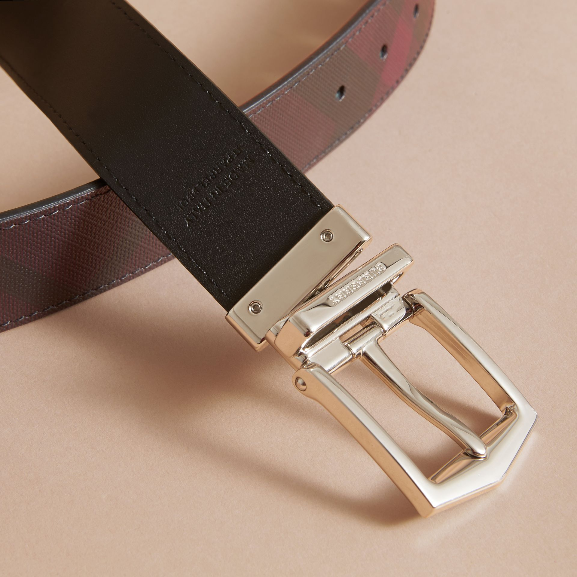 Reversible London Check and Leather Belt in Deep Claret/black - Men | Burberry - gallery image 5