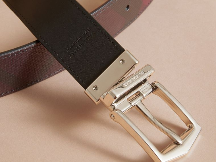 Reversible London Check and Leather Belt in Deep Claret/black - Men | Burberry - cell image 4