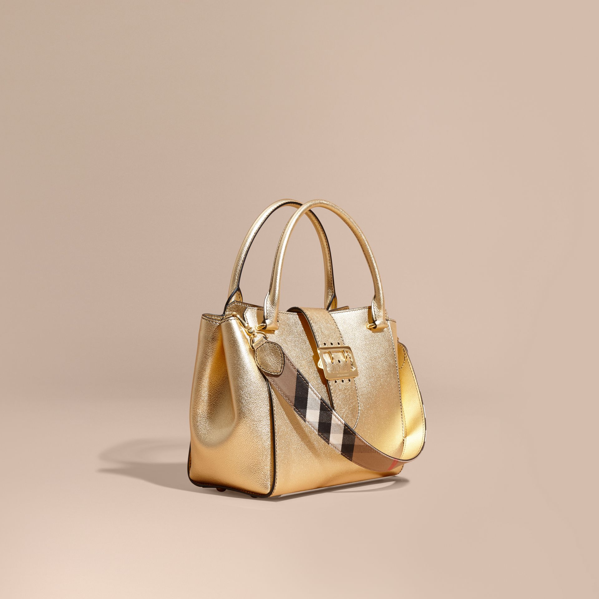 The Medium Buckle Tote in Metallic Leather - gallery image 1