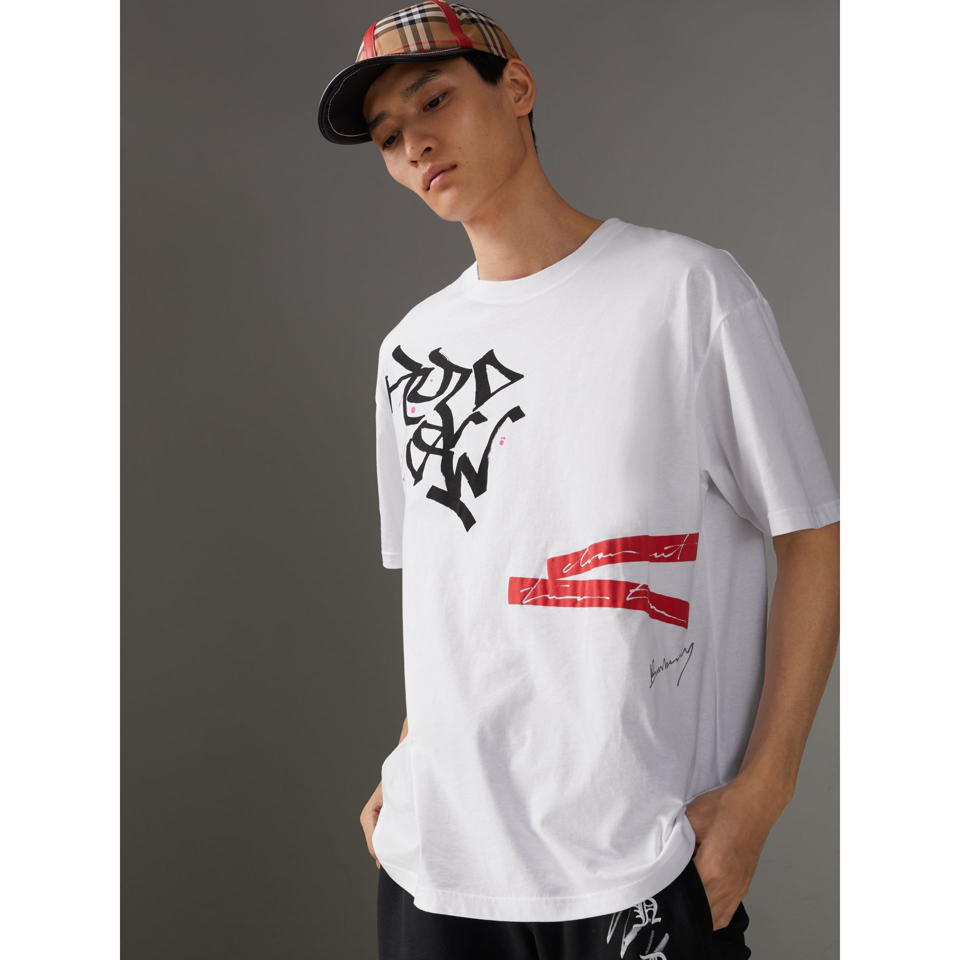 Burberry x Kris Wu Printed Cotton T-shirt in White - Men | Burberry United States - gallery image 4