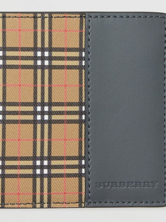 Small Scale Check International Bifold Wallet in Antique Yellow/dark Grey - Men | Burberry United Kingdom - cell image 1