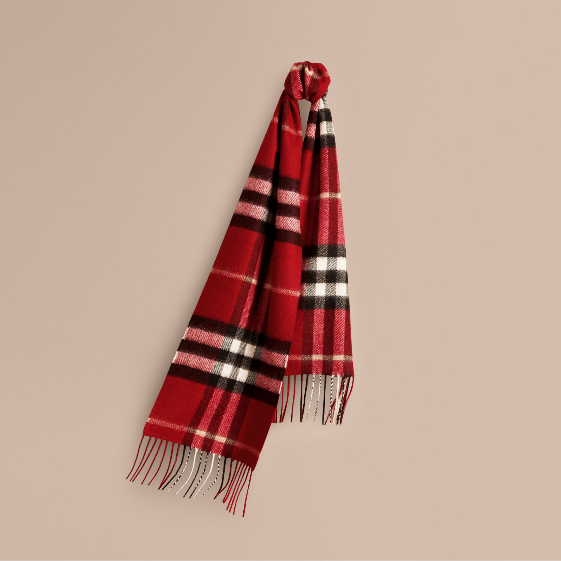 The Mini Classic Check Cashmere Scarf in Parade Red | Burberry - gallery image 5