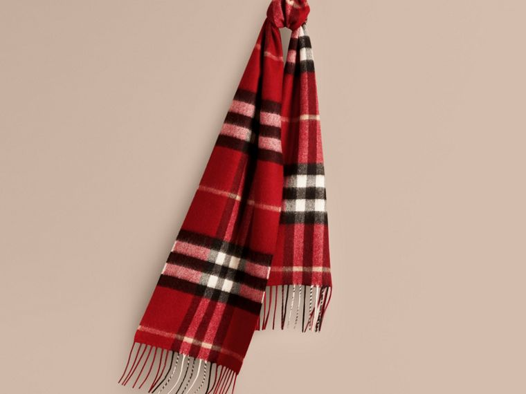 The Mini Classic Cashmere Scarf in Check in Parade Red | Burberry Australia - cell image 4