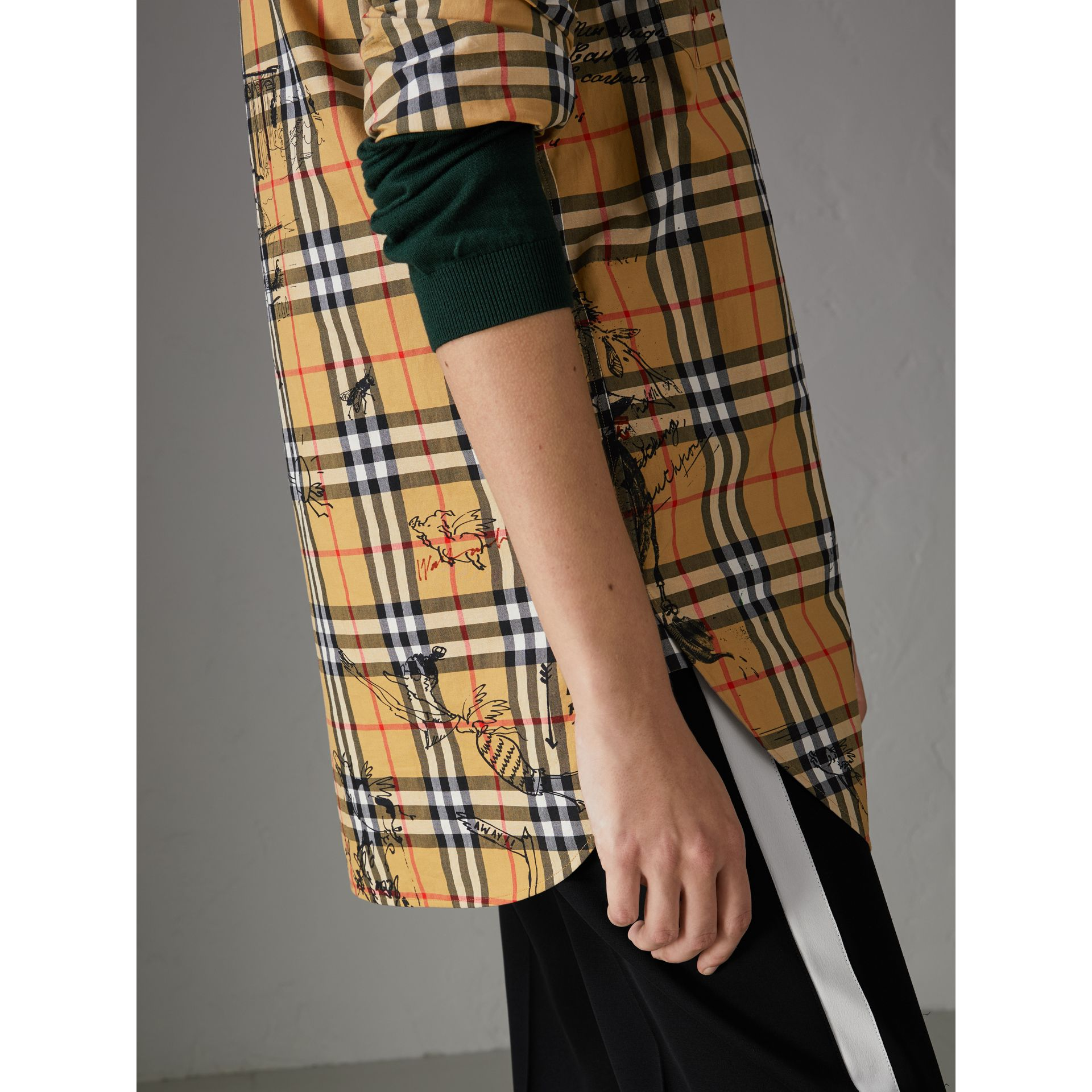 Postcard Print Vintage Check Tunic Shirt in Antique Yellow - Women | Burberry - gallery image 1