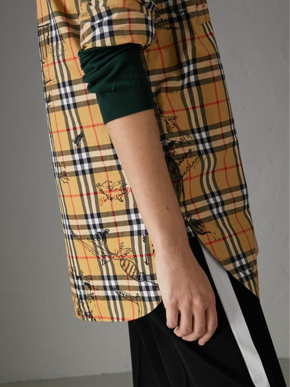 Postcard Print Vintage Check Tunic Shirt in Antique Yellow - Women | Burberry United Kingdom - cell image 1