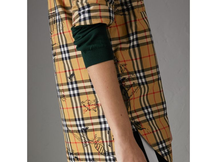 Postcard Print Vintage Check Tunic Shirt in Antique Yellow - Women | Burberry United States - cell image 1