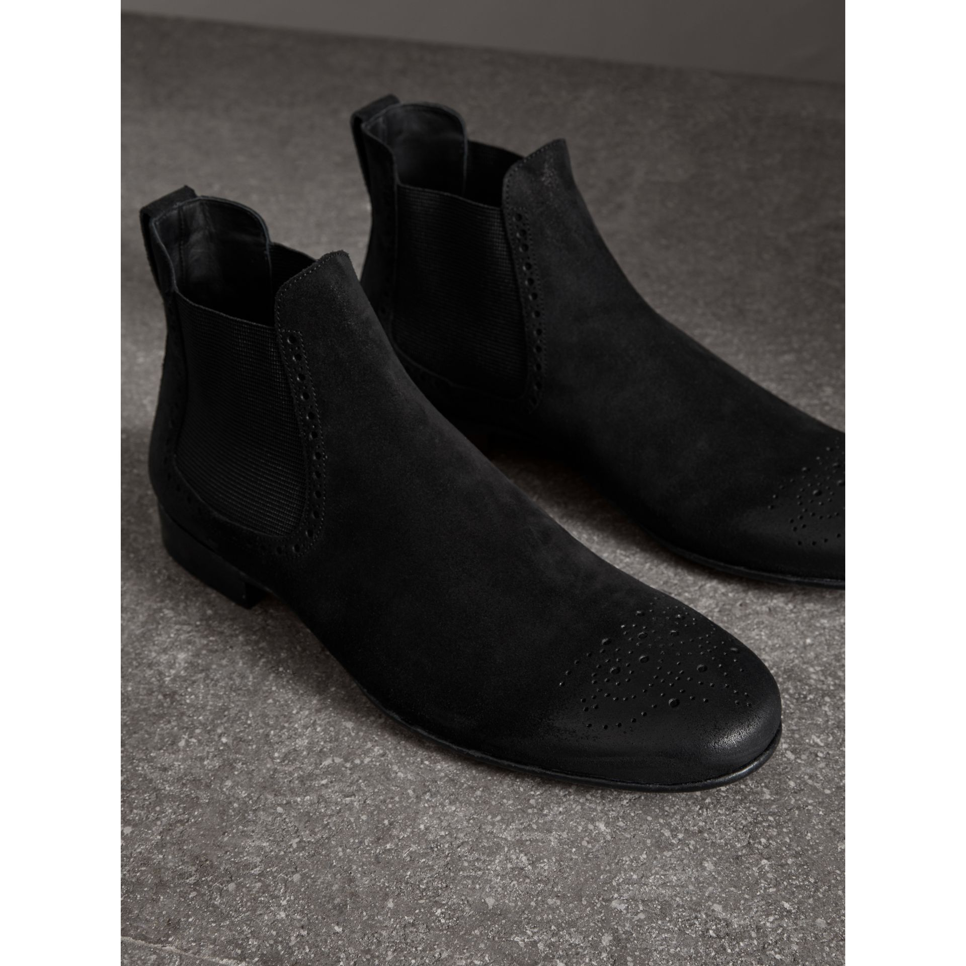 Brogue Detail Suede Chelsea Boots in Black - Men | Burberry - gallery image 3