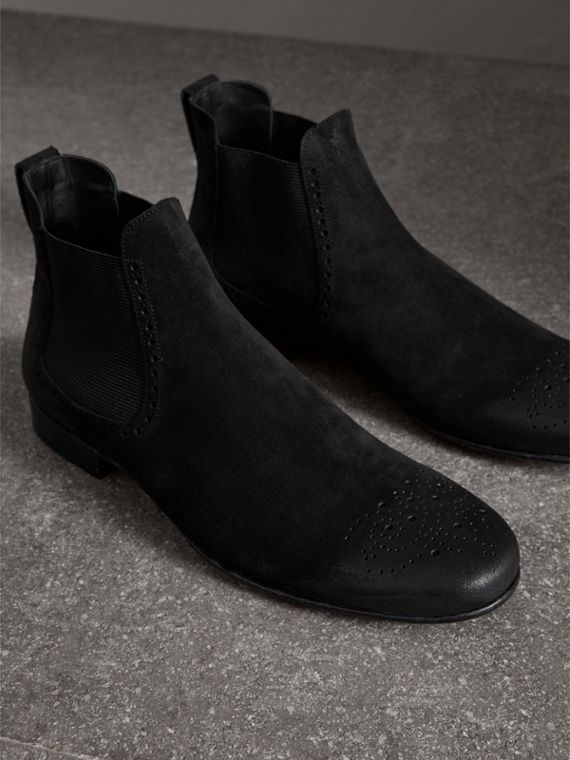 Brogue Detail Suede Chelsea Boots in Black - Men | Burberry - cell image 3