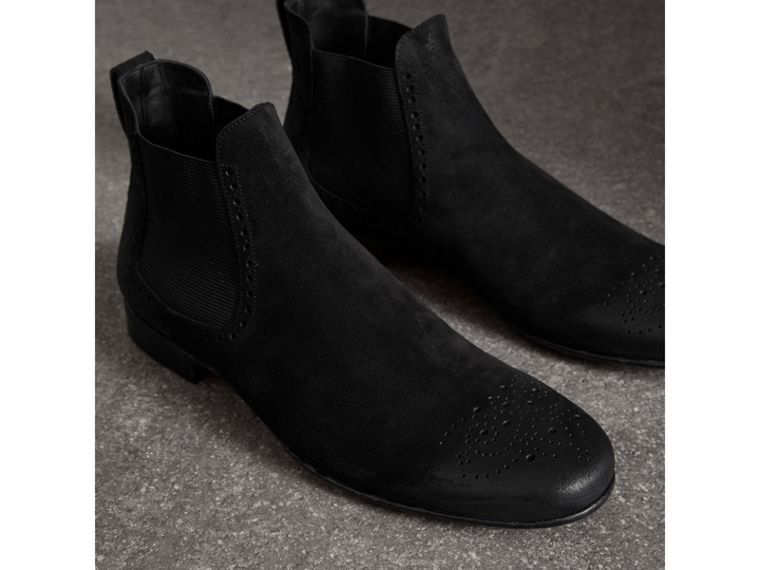 Brogue Detail Suede Chelsea Boots in Black - Men | Burberry - cell image 4