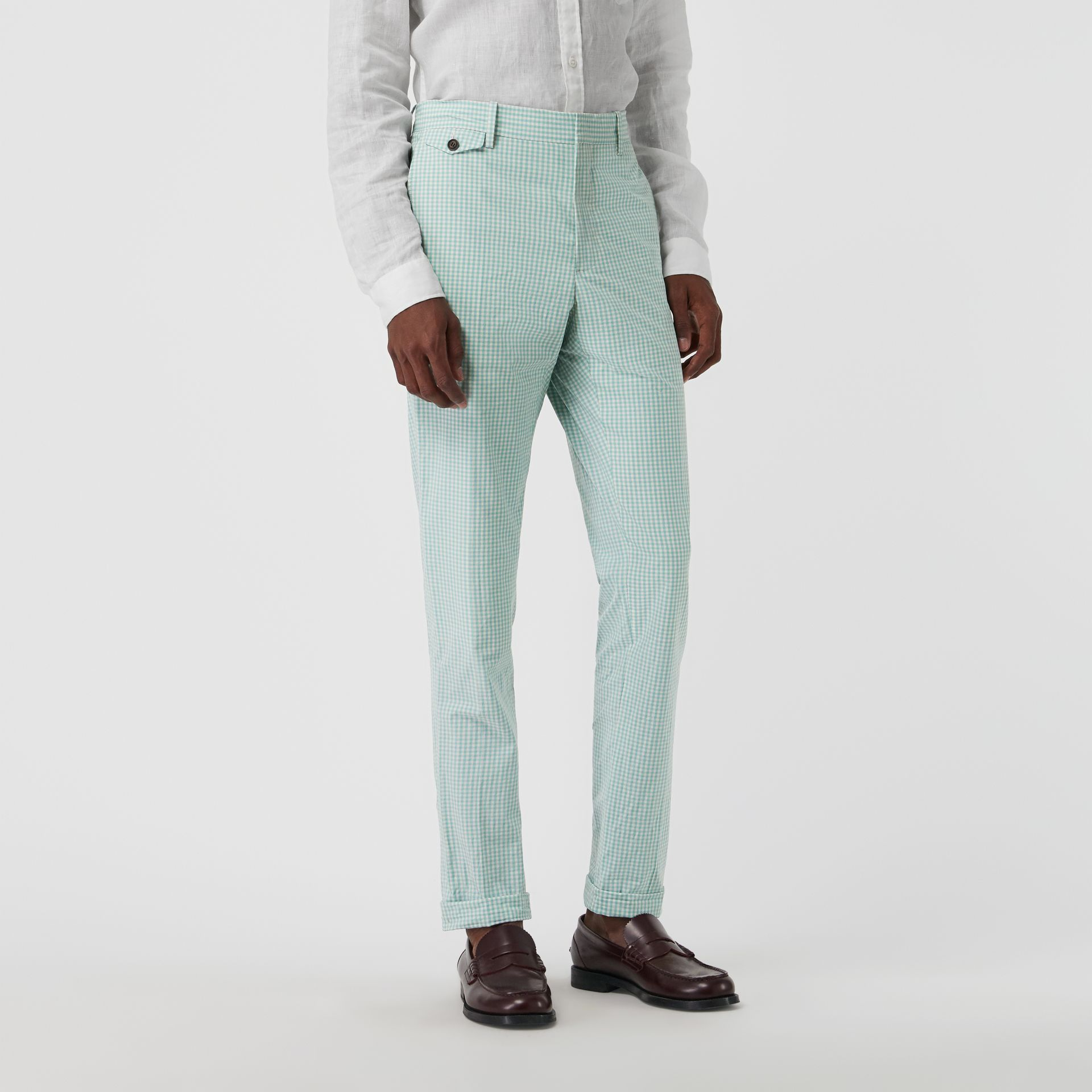 Gingham Cotton Tailored Trousers in Pale Opal - Men | Burberry Canada - gallery image 5