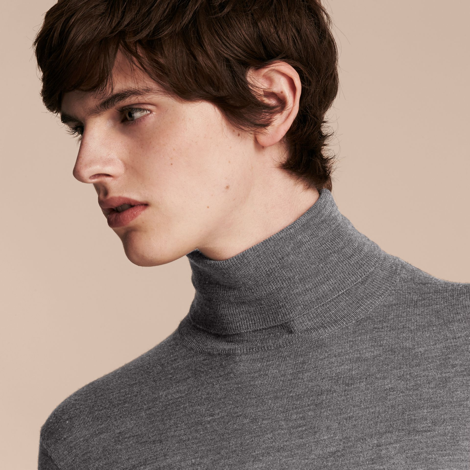 Mid grey melange Merino Wool Roll-neck Sweater Mid Grey Melange - gallery image 5