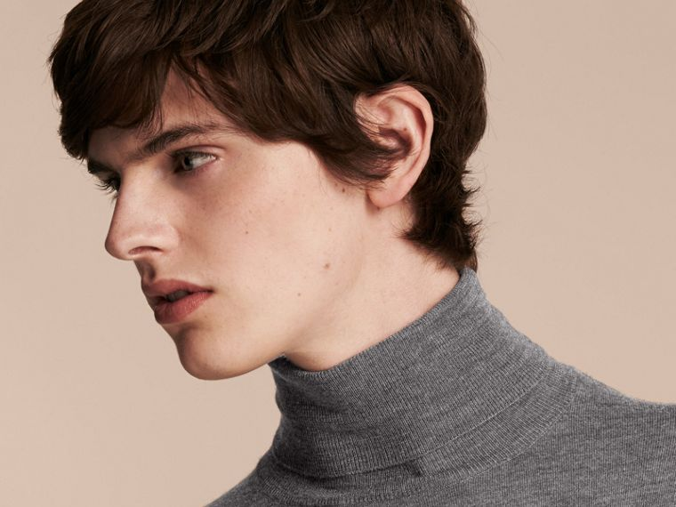 Merino Wool Roll-neck Sweater in Mid Grey Melange - Men | Burberry - cell image 4