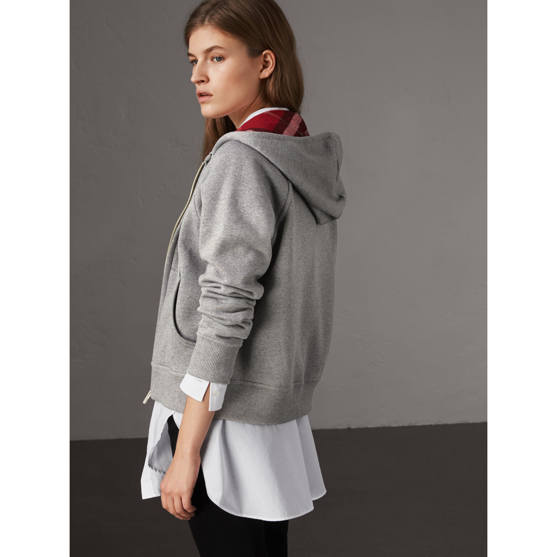 Hooded Zip-front Cotton Blend  Sweatshirt in Mid Grey Melange - Women | Burberry United Kingdom - gallery image 3