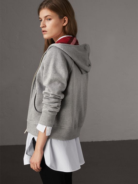 Hooded Zip-front Cotton Blend  Sweatshirt in Mid Grey Melange - Women | Burberry United Kingdom - cell image 2