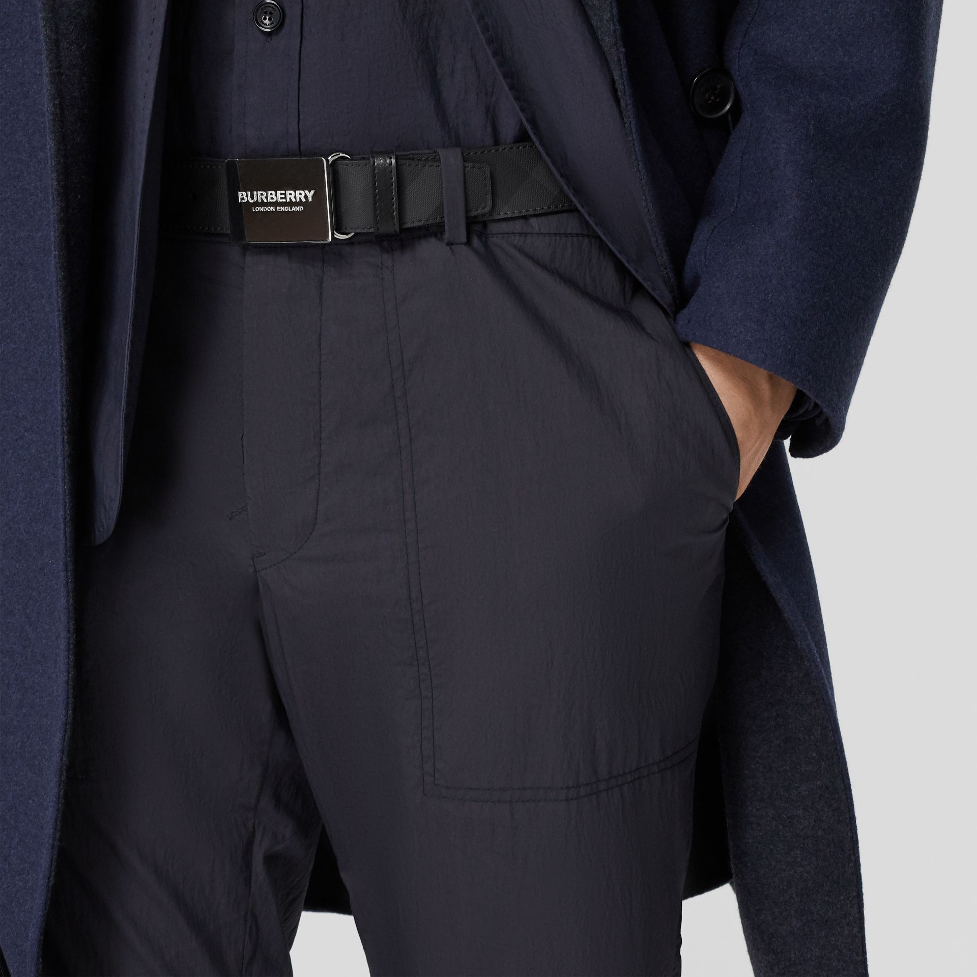 Plaque Buckle London Check and Leather Belt in Dark Charcoal/ Black - Men | Burberry - gallery image 2