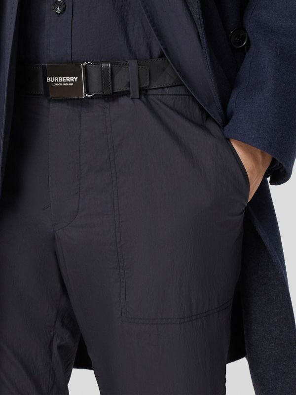 Plaque Buckle London Check and Leather Belt in Dark Charcoal/ Black - Men | Burberry Canada - cell image 2